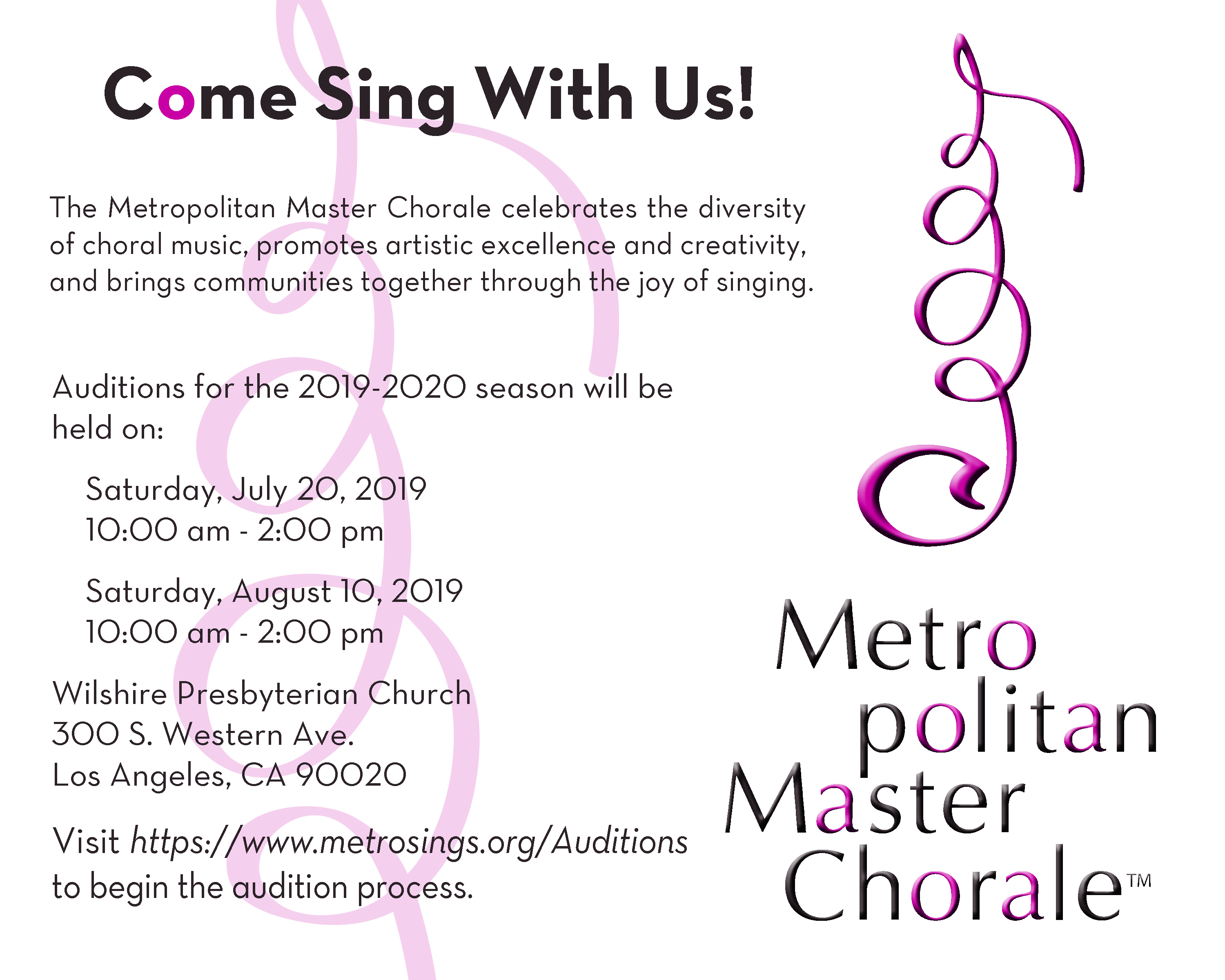 Auditions | Metropolitan Master Chorale